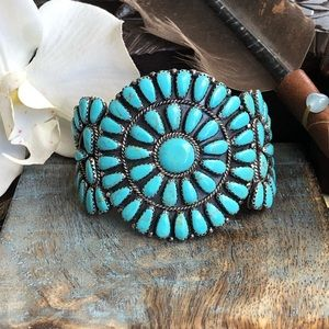 Jewelry - Turquoise cluster cuff bracelet sterling